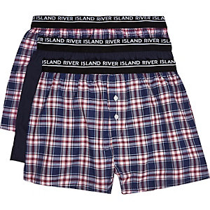 Mixed check woven boxer shorts pack