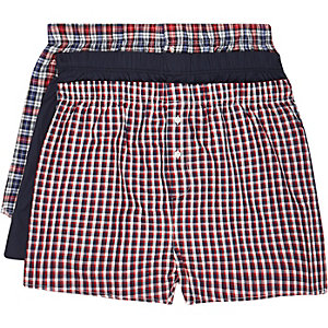 Navy check woven boxer shorts pack