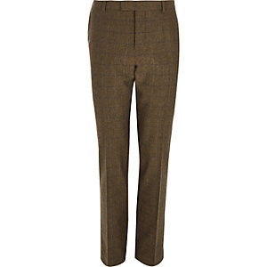 Brown check wool-blend slim fit trousers