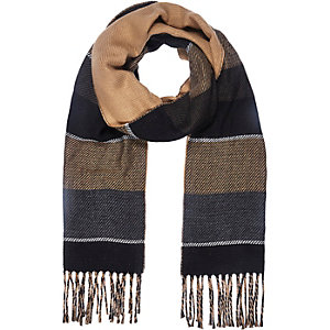 Grey stripe reversible scarf