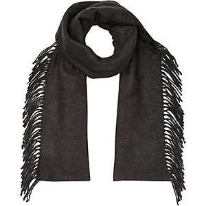Grey tassel side scarf