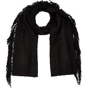 Black tassel blanket scarf