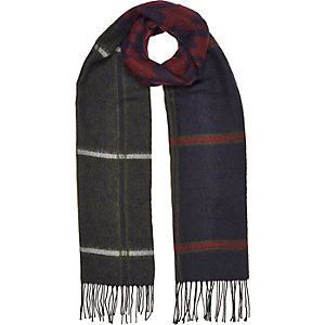 Navy check tasselled scarf