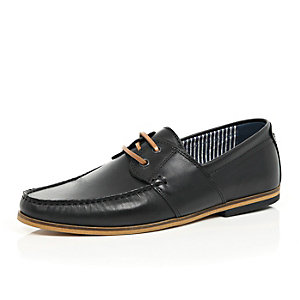 Black leather lace up boat shoes