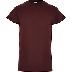 Dark red turn sleeve t-shirt