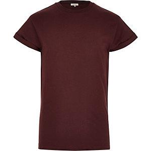 Dark red turn sleeve t-shirt