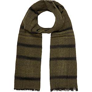 Khaki stripe lightweight scarf