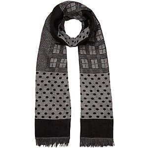 Grey lightweight patchwork scarf