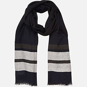 Navy stripe lightweight scarf