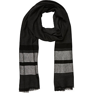 Grey stripe lightweight scarf