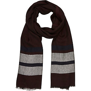 Dark red stripe lightweight scarf