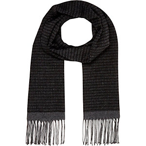 Grey ladder stripe tassel scarf