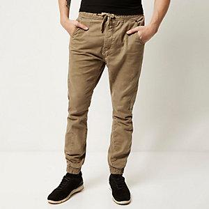 Pantalon casual marron à revers