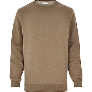 Light brown split hem sweatshirt