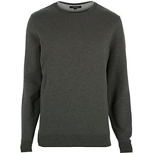 Khaki green split hem sweatshirt