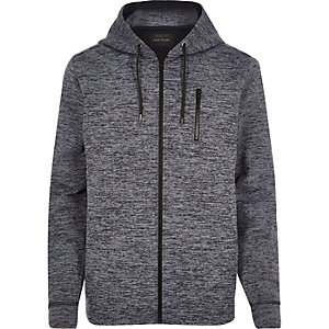 Navy marl zip through hoodie