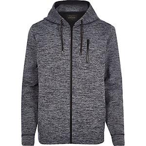 Navy marl zip through hoodie