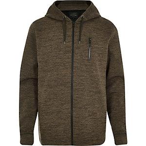 Dark green zip pocket long sleeve hoodie