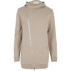 Stone asymmetric longer length zip hoodie