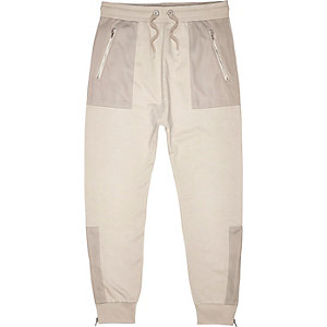Stone grey mesh pocket joggers