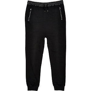 Black leather-look trim joggers