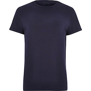 Navy marl roll sleeve T-shirt