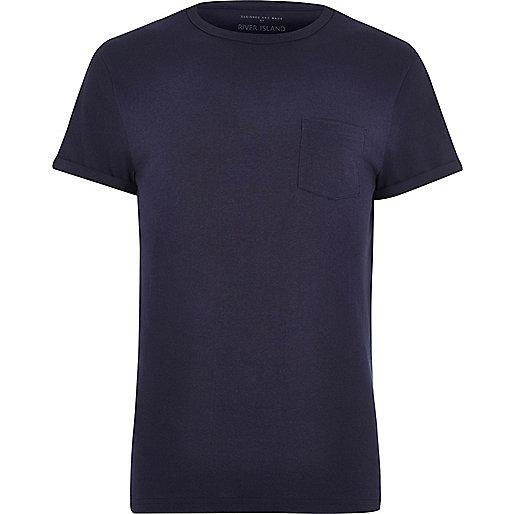 Navy marl chest pocket T-shirt
