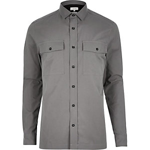 Grey utility long sleeve shirt