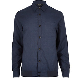 Navy blue long sleeve overshirt