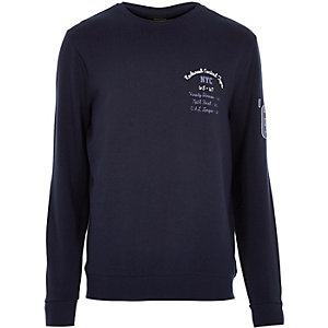 Navy NYC 67 print sweatshirt