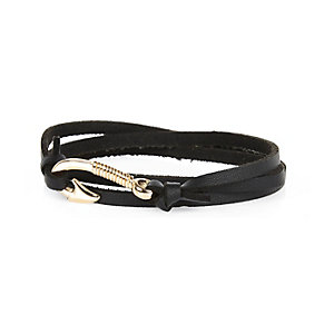 Black leather hook fastening bracelet