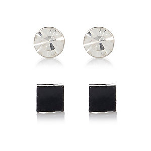 Black and rhinestone 2 pack bling earrings