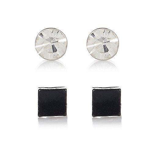 Black and rhinestone 2 pack bling earrings