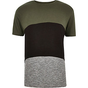 Khaki green block colour t-shirt