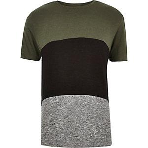 Khaki green block color t-shirt