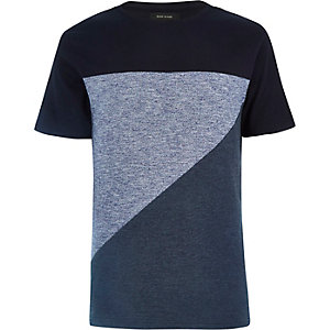 Blue block colour short sleeve t-shirt