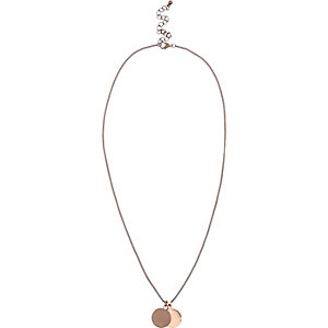 Bronze tone circle pendant necklace