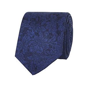 Navy subtle floral tie