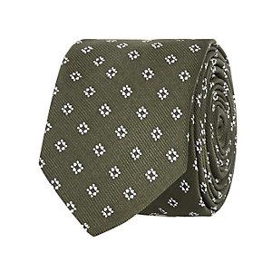 Khaki square print tie
