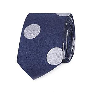 Navy large spot tie