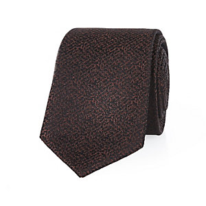 Orange brown textured tie