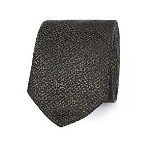 Khaki green textured tie