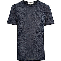 Navy blue burnout print t-shirt