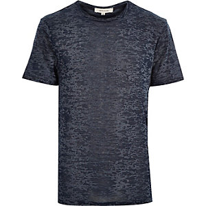 Navy blue burnout print t-shirt