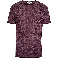 Dark red burnout print t-shirt