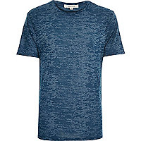 Blue burnout print t-shirt