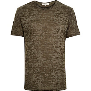 Khaki green burnout print t-shirt