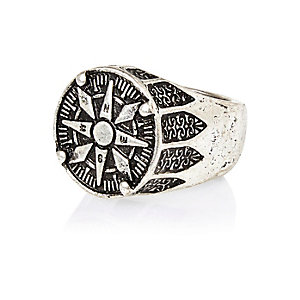 Silver tone fraternity style ring
