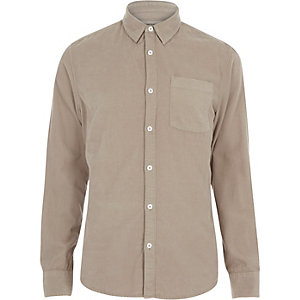 Ecru cord long sleeve shirt