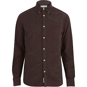 Brown cord long sleeve shirt